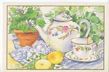 VINTAGE FLORAL WHITE TEA POT TEA CUP & SAUCER LEMONS GARDEN FLOWER DAISIES CARD