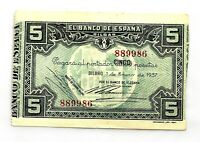 Spain- Guerra Civil. Billete. 5 Pesetas 1937. Bilbao.  EBC-/XF-