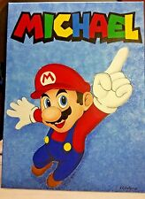 """Super Mario Hand-Painted Canvas18 x 24 """"Michael"""", Perfect for Children's room"""