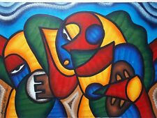 African olio/acrilico dipinto originale firmato maschere 3 Tribal Folk Art
