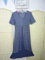 VINTAGE viscose crinkle blue boho/festival 40s style fit & flare tea dress S