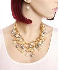 NEW..Stunning Glam Multi Line Multi Color Faux Pearl Necklace with Earrings.