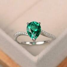 2.50Ct Pear Cut Green Emerald Fancy Engagement Ring Solid 14k White Gold Finish