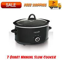 Crock-Pot 7 Quart Manual Slow Cooker, Black, Dishwasher-Safe, Stoneware and Lid
