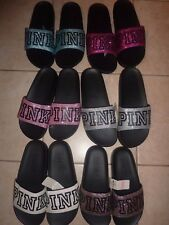 VICTORIAS SECRET PINK GLITTER SPARKLE SLIDES /FLIP FLOPS CHOICE NWT