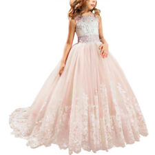 Flower Girl Princess Dress Lace Trailing Gown for Kids Party Wedding Bridesmaid