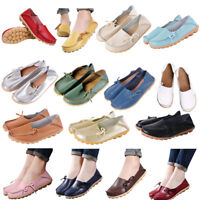 Women Genuine Leather Bowed Flat Shoes Comfy Soft Ladies Moccasin Loafers