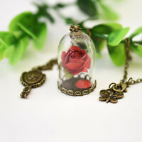 2017 Newest Movie Beauty and the Beast Rose Vial Flower Glass Necklace Dome Gift