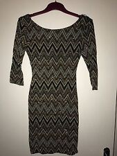 New Women's New Look Black & Gold Sparkly Bodycon Mini Dress 3/4 Sleeves 10