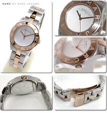 NEW MARC JACOBS BLADE 2 TONE SILVER+ROSE GOLD,LINK BRACELET WATCH-MBM3129