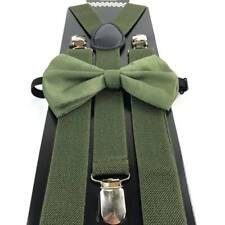 Olive Green Bow Tie & Suspender Set Tuxedo Wedding Formal Men's Accessories