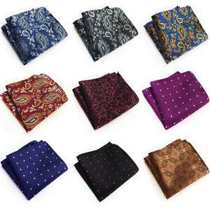 Men's Business Floral Paisley Polka Dots Jacquard Handkerchief Pocket Square