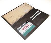 Black Cowhide Leather Checkbook Cover Long Organizer Wallet Men Women