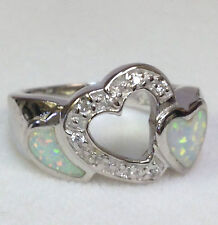 HOT! WHITE FIRE Opal Inlay and cz tow Heart Ring Sterling Silver 925, size 6-7-8