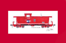 "Missouri Pacific Caboose #13569 11""x17"" Matted Print by Andy Fletcher signed"