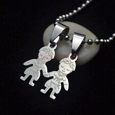 Stainless Steel Two Kids Children Boys Hand In Hand Figure Pendant Necklace