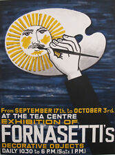 1959 VINTAGE BRITISH PIERO FORNASETTI SUN POSTER, ARTIST'S PALETTE EXHIBITION