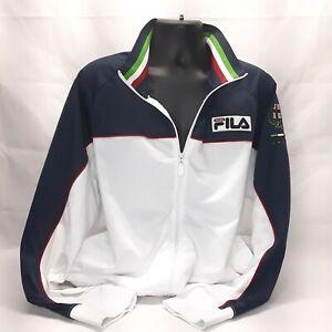 Fila Sport Italia Mens 2XL Italy Soccer Blue & White Track Italian Jacket Defect
