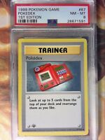 PSA 8 NM MINT Pokedex 87/102 1st Edition Base Set Shadowless Pokemon