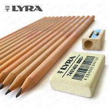 Lyra Natural Wood Pencil Set - 12 HB Pencils, 1 Eraser and Single Hole Sharpener