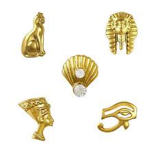 10 x 3D Gold Egyptian Charms Nail Art Tips DIY Rhinestone Decoration, 5 Designs