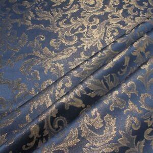 Stoff Polyester Jacquard Ornament blau gold Lurex Goldbrokat Barock Rokoko 280 c