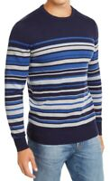 Club Room Mens Sweater Gray Blue Size 2XL Striped Rib Trim Knit Crewneck $50 031