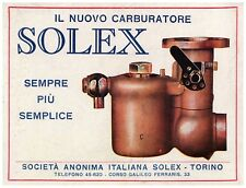 PUBBLICITA' 1925 SOLEX CARBURATORE AUTO CARBURETOR TORINO FIAT ALFA ROMEO LANCIA
