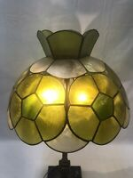 "Vtg Mid Century Modern Capiz Shell Lamp Shade Green Yellow Tiffany Style 14"""