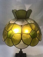 Vtg Mid Century Modern Capiz Shell Lamp Shade Green Yellow Tiffany Style 14""