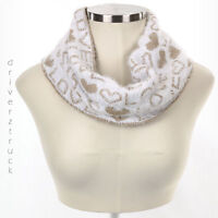 JUICY COUTURE Women's Love & Heart WHITE & TAN Winter INFINITY SCARF Gold Thread