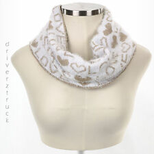 JUICY COUTURE Winter WHITE & TAN SCARF Loop INFINITY Love & Heart METALLIC GOLD