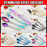 16-64 Piece Stainless Steel Cutlery Set Black Rose Gold Rainbow Knife Fork Spoon