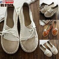 Women's Lace Up Loafers Pumps Ladies Slip On Casual Flat Moccasins Shoes Size