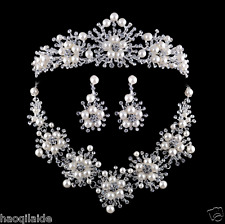 Pearl Rhinestone Tiara Crown Wedding Jewelry Bridal Accessory Necklace Earrings