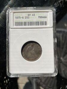 1875-S 20c Seated Liberty Twenty Cent Piece ANACS EF 45