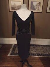$795 LA PETITE ROBE di CHIARA BONI BLACK VNECK WITH SATIN BOW DRESS SZ 6/42 NWT