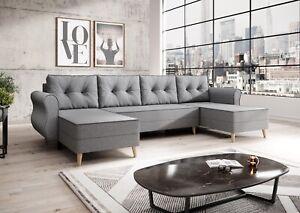 Couchgarnitur Sofa Sofagarnitur NEAPEL U mit Schlaffunktion Wohnlandschaft NEU