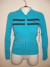 NEW Vertigo Paris Teal Blue Hoodie Full-Zipper Jacket Long Sleeves Rayon Medium