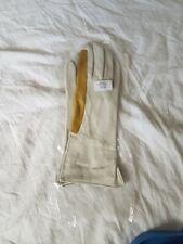 Genuine Men's RAF Winchman's Leather Gloves, Brand New. White/Mustard