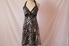 Women's LE CHATEAU Brown&White Animal Print Halter Dress (Sz MEDIUM)