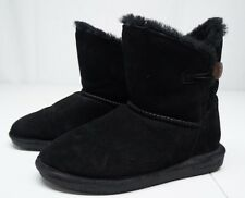 Bearpaw Womens 8 M Black Seude Leather Ankle Boots