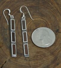 92.5 sterling silver bar charm long earrings, coconut wood inlay, lightweight