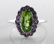 COOL 9CT  9K WHITE GOLD PERIDOT AMETHYST ART DECO INS CLUSTER RING  FREE SIZE