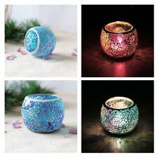 2Pcs Mosaic Glass Votive Candleholder Tealight Bowl Candelabra Candlestick D