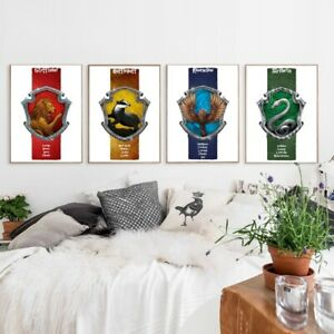 Harry Potter House Crest Glossy Print Poster Texture Gryffindor Slytherin A4 UK