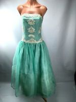 VTG 60s Mint Green Beaded Sequin Lace Bubbe Evening Gown Party Prom Dress S/M