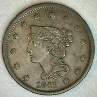 1841 Braided Hair US Large Cent Copper Coin XF Extra Fine 1c US Penny Coin