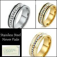 Titanium Stainless Steel Eternity Ring w Swarovski Crystals Silver Yellow Gold
