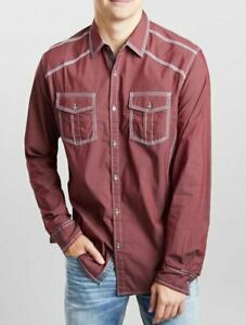 BKE BUCKLE BURGUNDY SOLID ATHLETIC STRETCH SHIRT EMBROIDERED BUTTON B2605 3XL